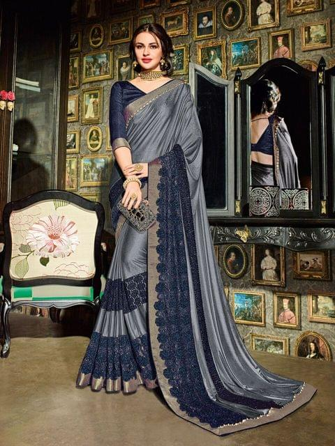 Imported Fabric With Net Jacquard saree with Art Silk Blouse  with Resham Embroidery With Stone Work