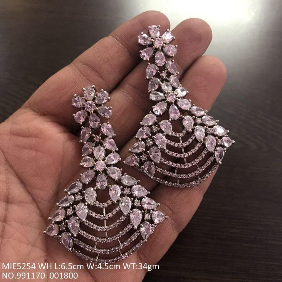 American Diamond Danglers with an year warranty