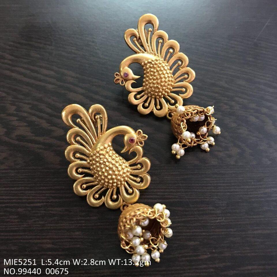Peacock designed gold plated Jhumki with an year warranty