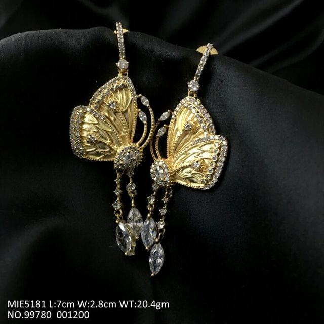Beautiful Butterfly shaped gold plated+American Diamond Dangler /Jhumki with an year warranty