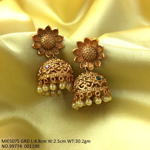 Gold Plated Brass Jhumki with an year warranty