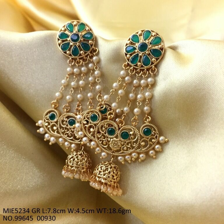 Gold Plated Brass Jhumki with Ad Stones - with an year warranty