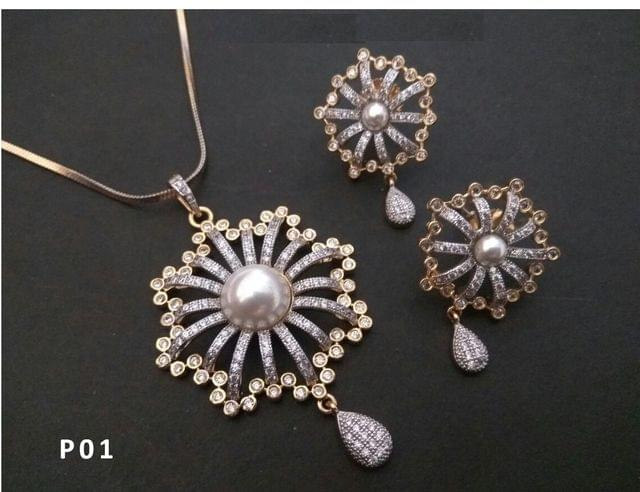American Diamond Pendant Set with beautiful pair of Earrings- 1 year warranty