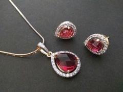 Beautiful American Diamond Pendant Set with an year warranty