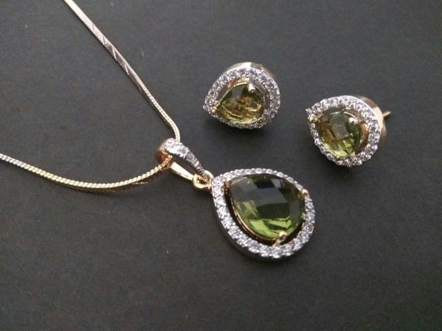 Beautiful American Diamond Pendant Set with an year warranty