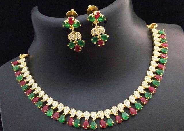 Red and Green American Diamond Necklace set with an year warranty