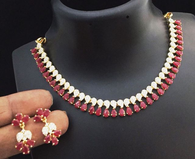 Red American Diamond Necklace set with beautiful pair of earrings