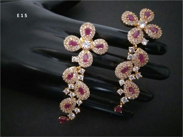American Diamond Danglers Studded with Ruby Stones