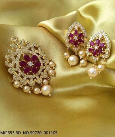 American Diamond Pendant set with couple of earrings- 1 year warranty