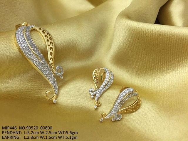American diamond Pendant set with pair of earrings