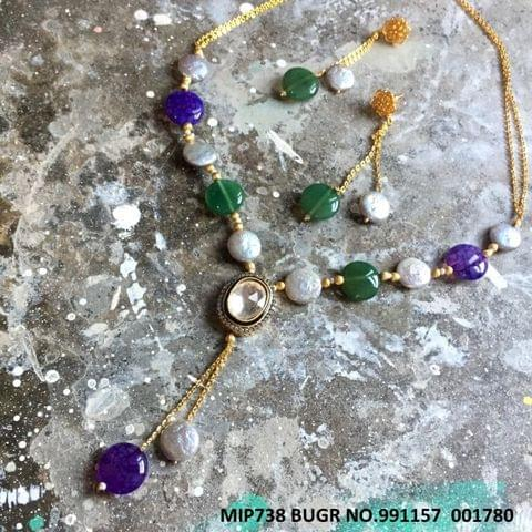 Precious Beads and Stone Necklace with pair of earrings-1 year warranty