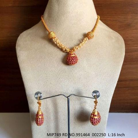 High Class Ad+Ruby Stone Pendant Set with an year warranty