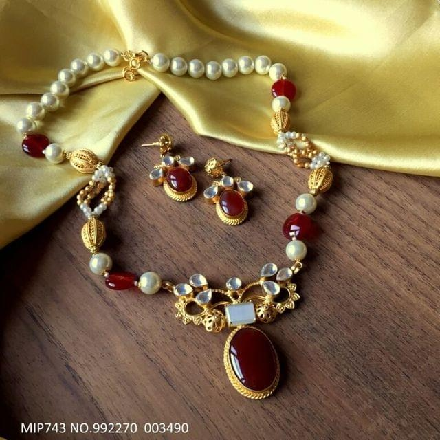 Precious Stone Pendant set,with Pearl chain - 1 year warranty