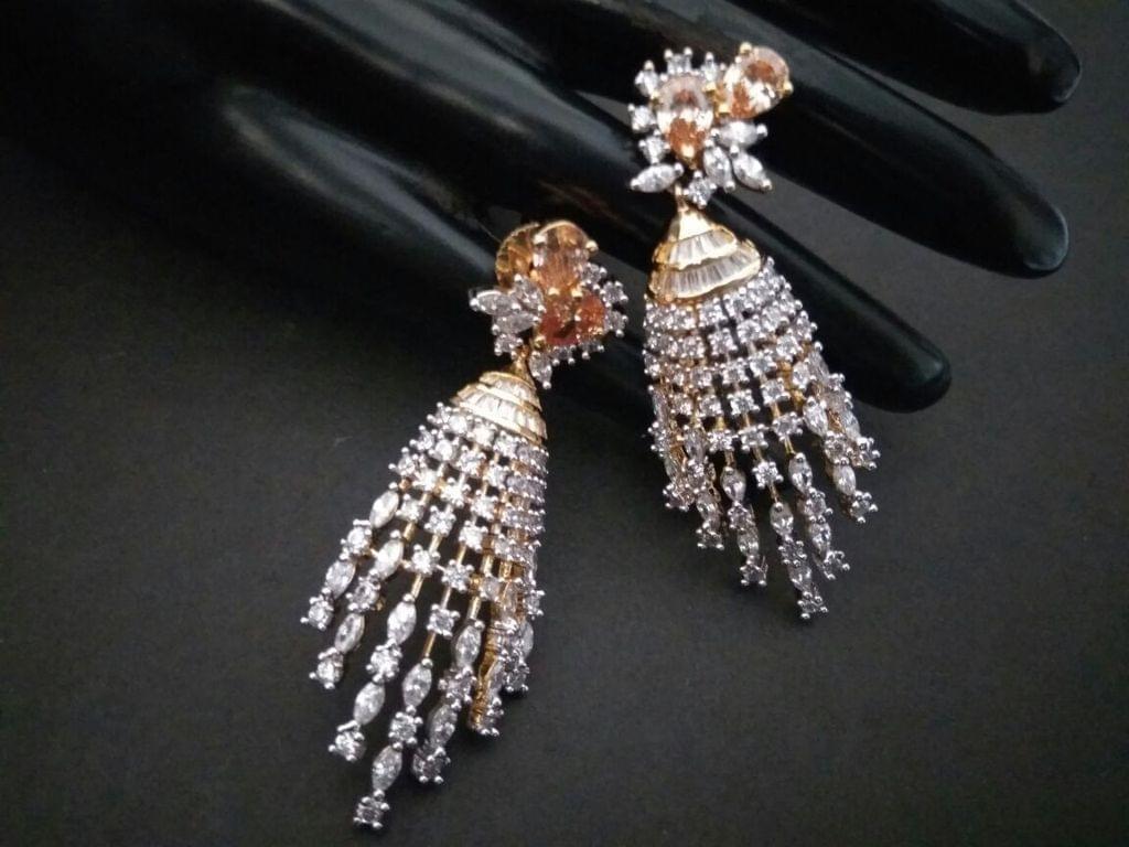 Beautiful American Diamond Danglers with an year warranty