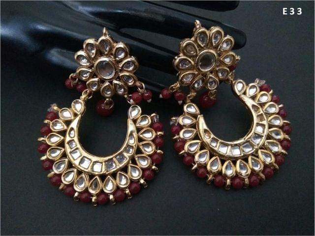 Beautiful Pair of Kundan Jhumka with an year warranty