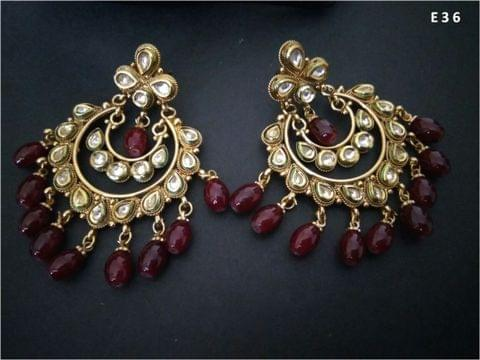 Kundan Studded pair of Jhumki with an year warranty