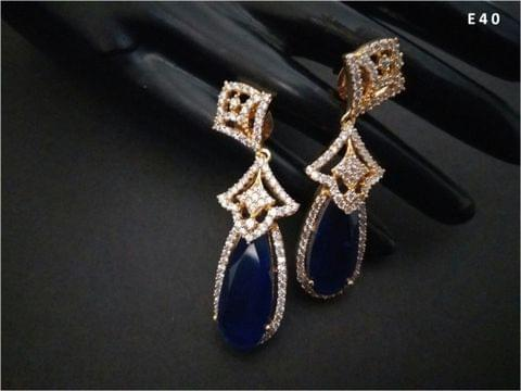 Precious Blue Stone+ American Diamond Dangler with an year warranty