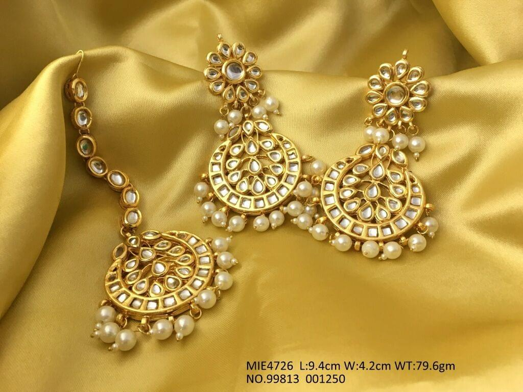 Beautiful Mangtika with pair of Danglers- Made of Pure Kundan Stones