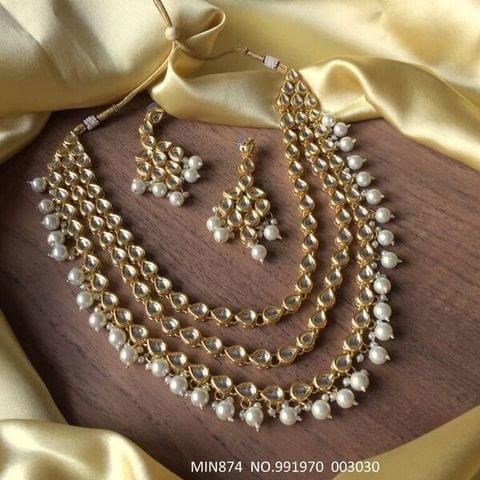 Buy high class Kundan Necklace studded with semi precious stones.It is coupled with pair of beautiful jhumki.