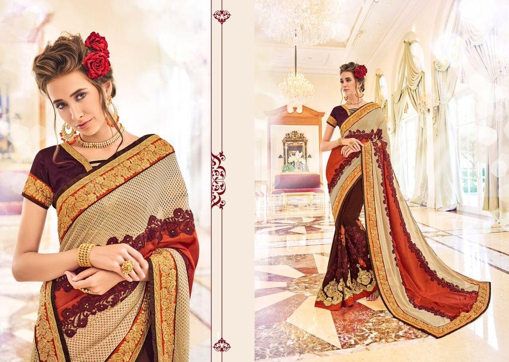 Georgette Saree  with Banglori Silk Blouse and Embroidery,Patch Resham Work