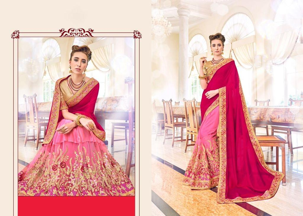 Chinon saree with Gota Blouse and Embroidery,Patch Resham Work