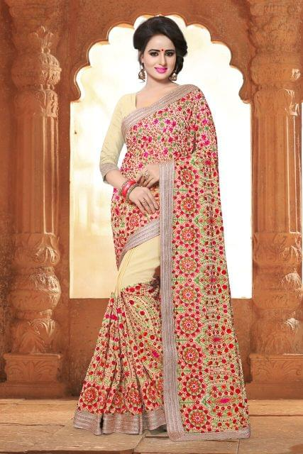 Georgette Saree with georgette blouse. Stone and Kashmiri Work