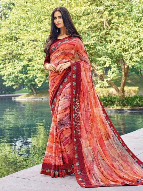 Georgette Saree with Art Silk Blouse ,with Printed work