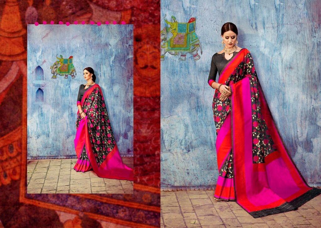 Art Silk Saree with Art Silk Blouse. Weaving work on saree