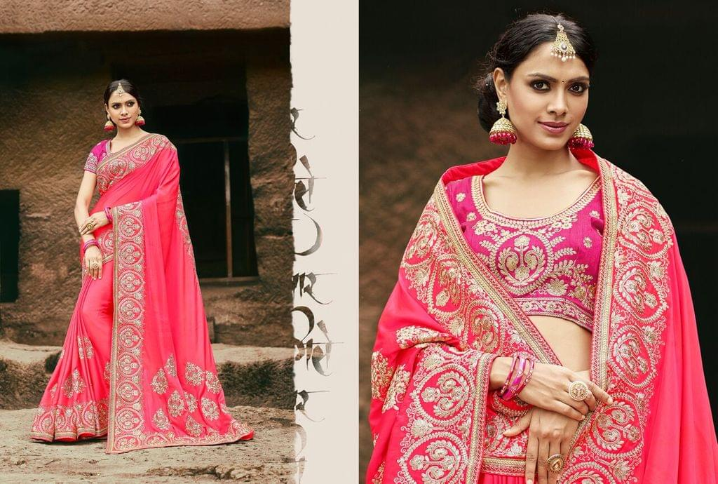 Crepe Silk  Saree With Art Silk Blouse and Jari Embroidery With Stone Work