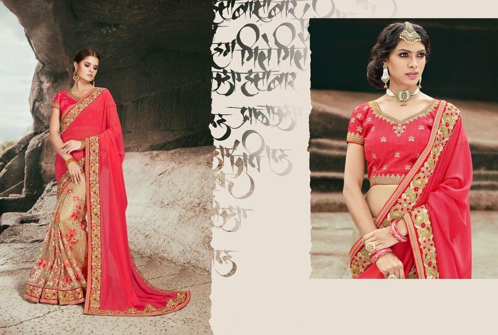 Chiffon & Net  Saree With Art Silk Blouse and Jari & Thread Embroidery With Stone & Moti Work