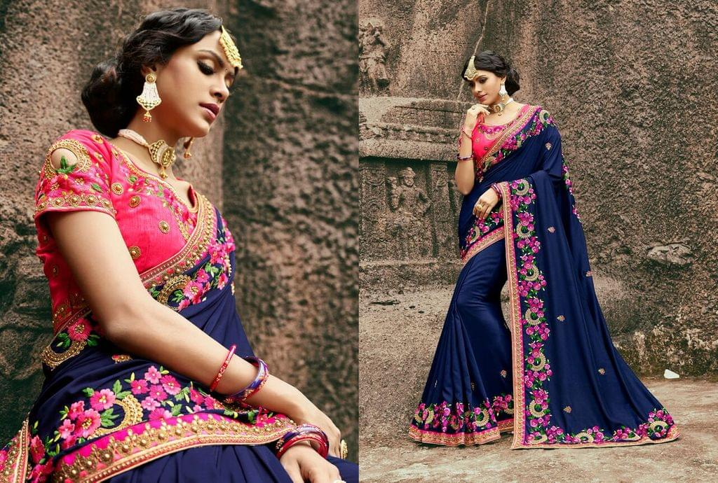 Silk Georgette  Saree With Art Silk Blouse and Thread & Jari Embroidery With Stone & Moti Work