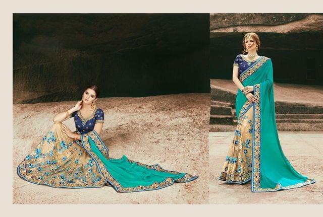 Chiffon & Net  Saree With Art Silk Blouse and Jari & Thread Embroidery With Stone & Moti Work