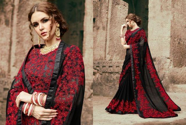 Georgette  Saree With Art Silk Blouse and Coding With Stone Work