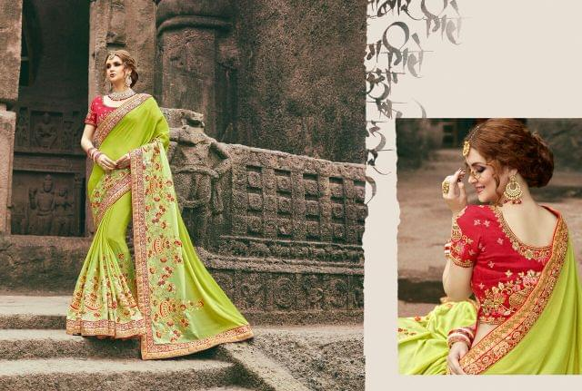 Silk Chiffon  Saree With Art Silk Blouse and Jari & Thread Embroidery With Stone & Moti Work