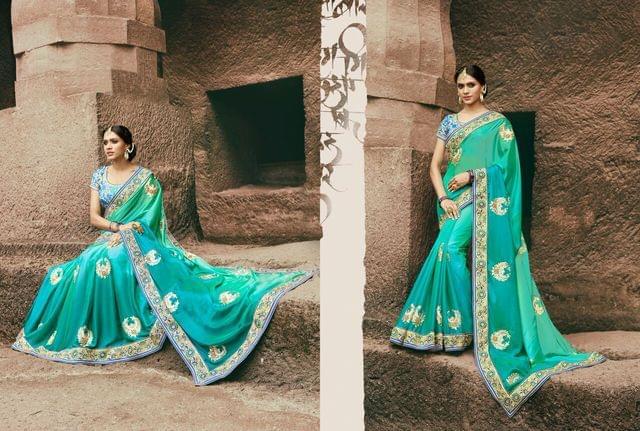 Satin Silk  Saree With Art Silk Blouse and Jari & Thread Embroidery With Stone & Moti Work