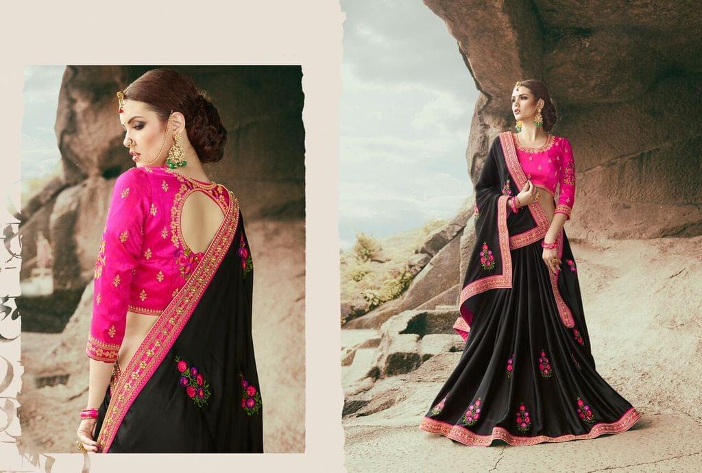 Georgette  Saree With Art Silk Blouse and Thread & Jari Embroidery With Stone & Moti Work