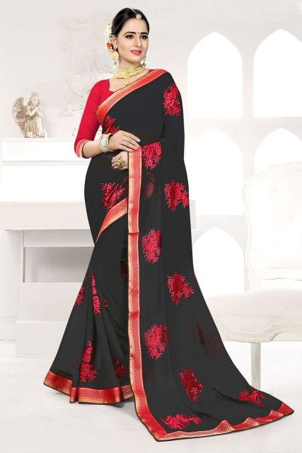 Net  Saree With Art Silk Blouse and Thread Embroidery, Pearl Embellishment &  Jewel Border