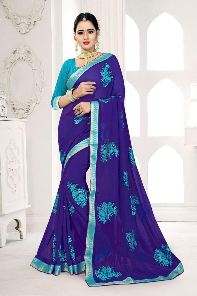 Knitted Net  Saree With Art Silk Blouse and Jari Embroidery With Moti & Stone Work