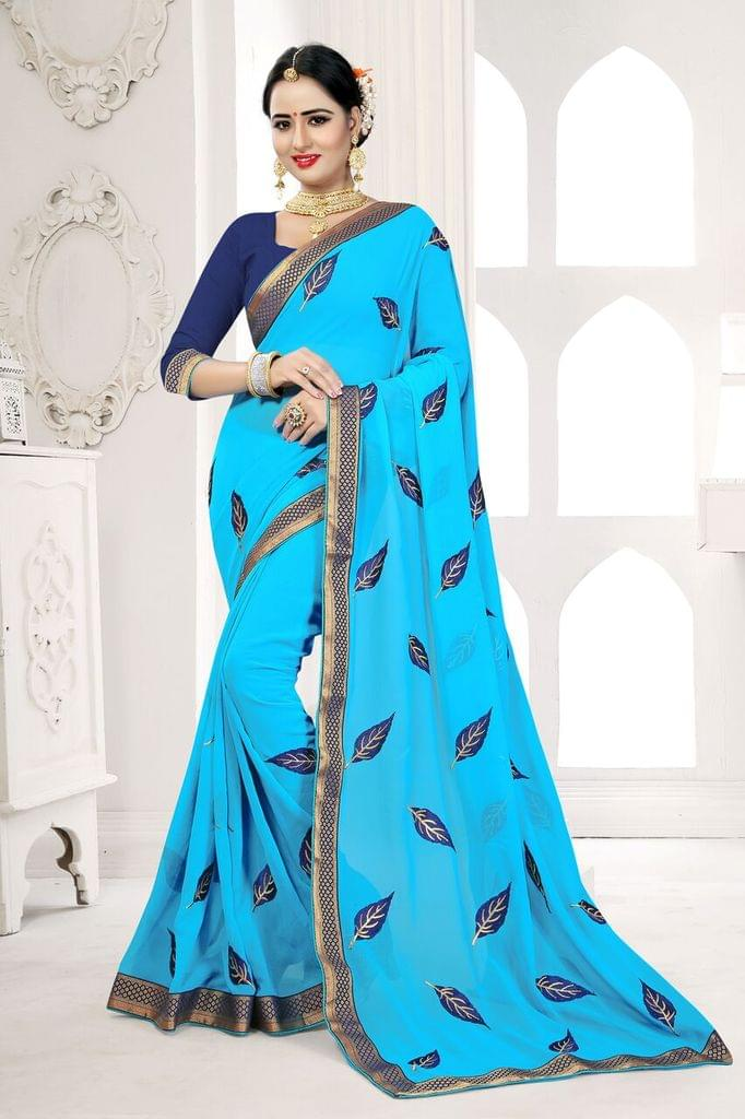 Georgette Saree Art Silk Blouse and  Coding Work