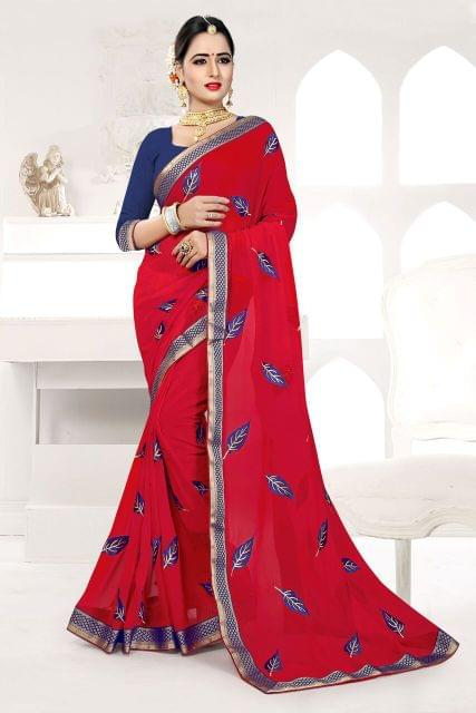 Silk & Net Saree Brocade & Net Blouse and  Fancy Lace Border