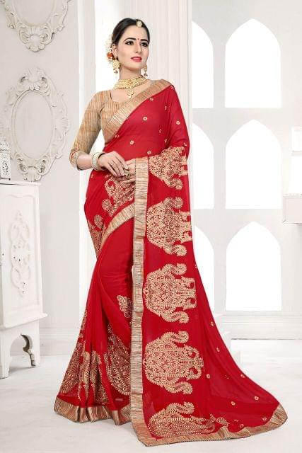 Knitted Net & Net Saree with Brocade & Net Blouse and Jari & Coding Embroidery