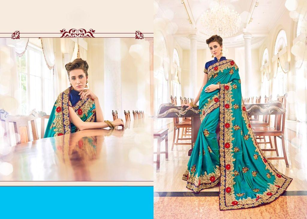 Knitted Net & Net Saree with Jacquard Silk Blouse and Jari & Coding Embroidery