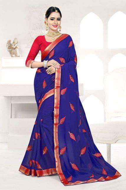 Silk & Net Saree Brocade Blouse and  Coding & Thread Work