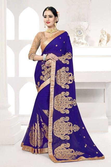 Silk Georgette Saree with Art Silk Blouse and Thread Embroidery