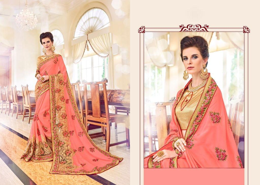Chiffon & Net Saree with Brocade Blouse and Fancy Fabric & Stone Work