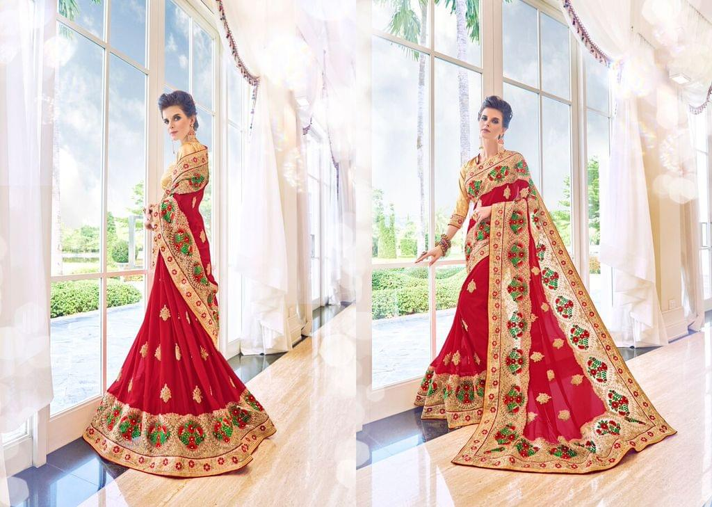 Knitted Georgette Saree with Art Silk Blouse and Fancy Net & Cut Work