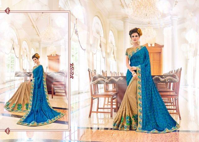Knitted Net Saree with Art Silk Blouse and Jewel Border