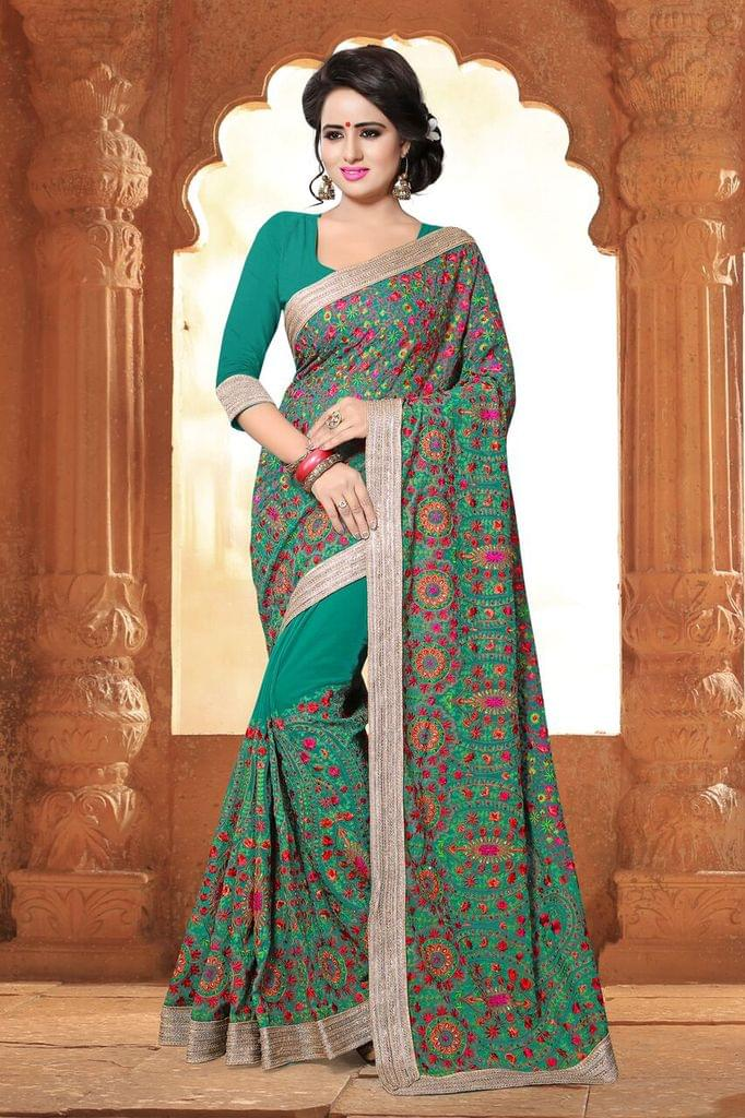 Silk Georgette & Net Saree with Brocade & Net Blouse and Thread & Jari Embroidery
