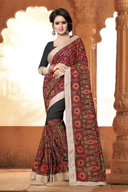 Net & Georgette Saree with Art Silk Blouse and Coding Work & Foiling