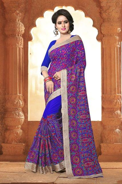 Fancy Net, Silk & Brocade Saree with Brocade Blouse and Jari & Coding Work